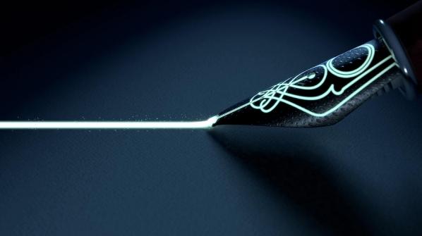 fountain pen drawing luminous line