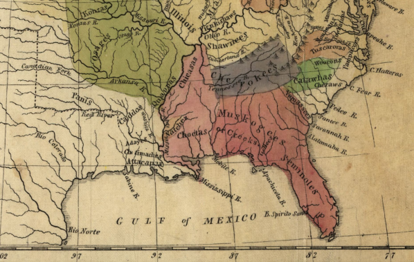 Map of the Indian tribes of North America, about 1600 A.D. along the Atlantic, & about 1800 A.D. westwardly