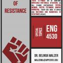 Flyer for  ENG 4530: Rhetorics of Resistance