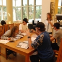 Photo of Bethany Mannon working with students.