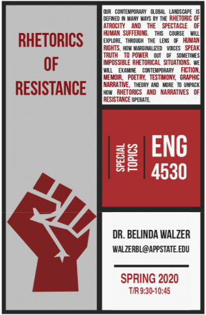 Flyer for  ENG 4530: Rhetorics of Resistance