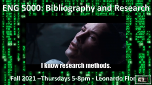Flyer of ENG 5000: Bibliography and Research