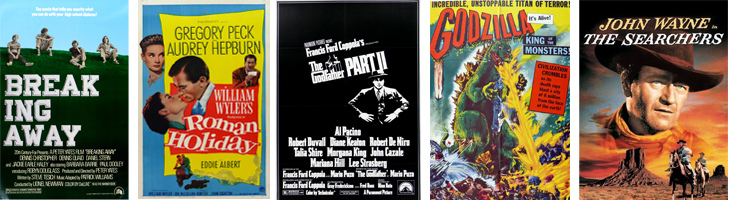 classic movie posters including Roman Holiday, The Godfather part 2, Godzilla, etc.